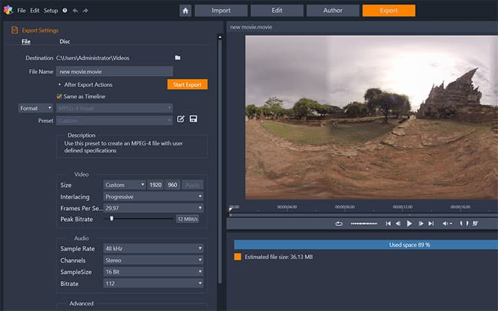How To Convert 360 Video To Standard Video in Pinnacle Studio