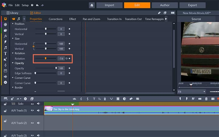 How to rotate a video in pinnacle studio choose an angle ccuart Images